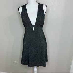 - - GUC FREE PEOPLE BLACK/SILVER HALTER MINI…